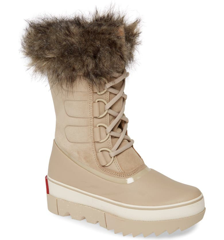 SOREL Joan of Arctic Next Faux Fur Waterproof Snow Boot, Main, color, ANCIENT FOSSIL LEATHER