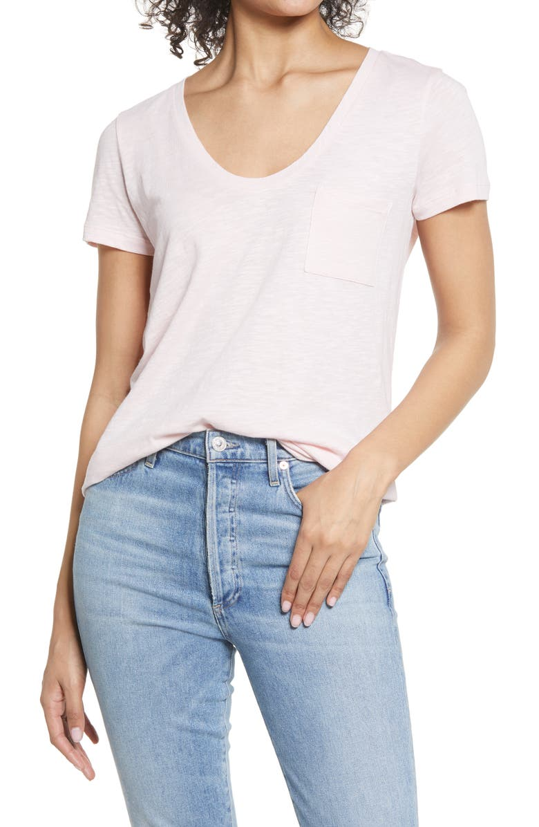 CASLON<SUP>®</SUP> Rounded V-Neck T-Shirt, Main, color, PINK CHINTZ