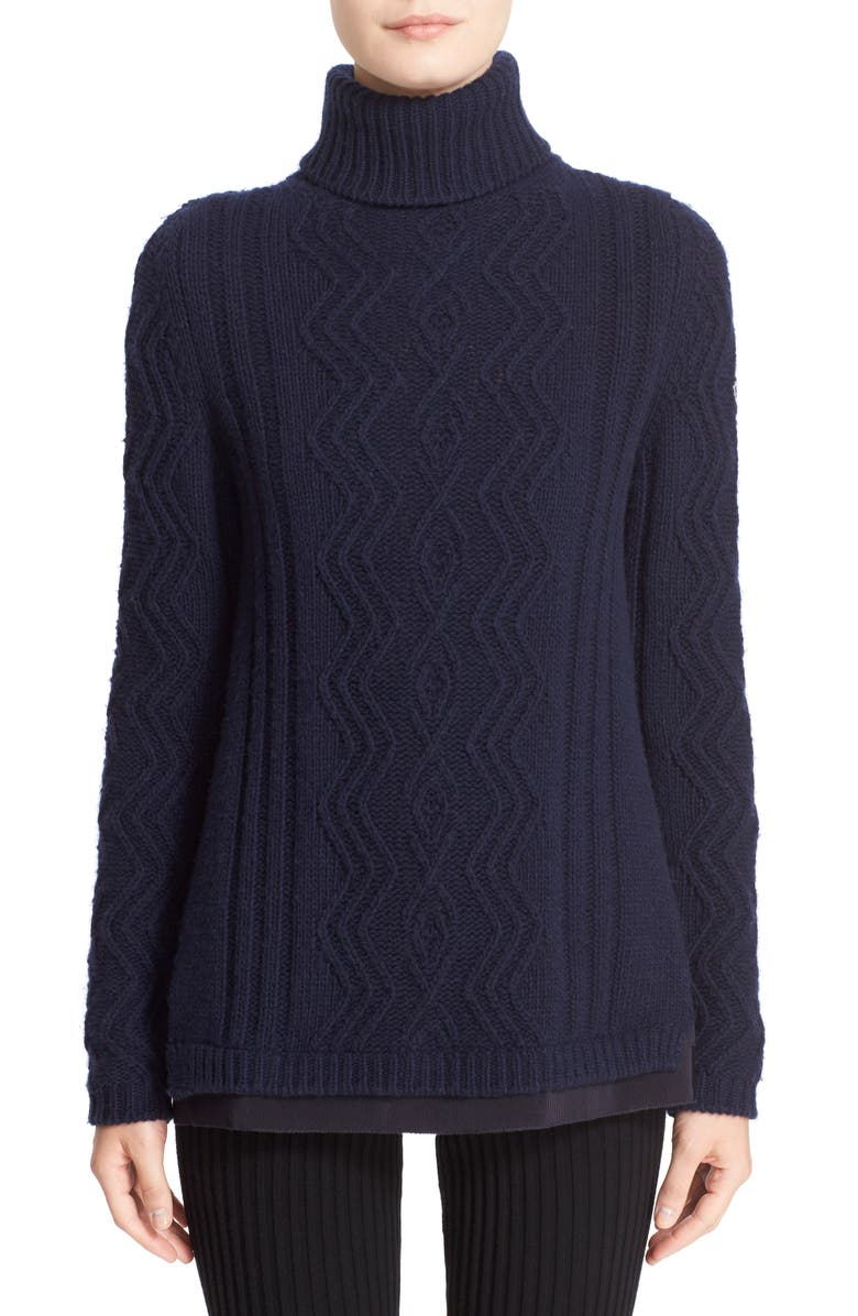 MONCLER Braid Knit Wool & Cashmere Turtleneck Sweater, Main, color, 419