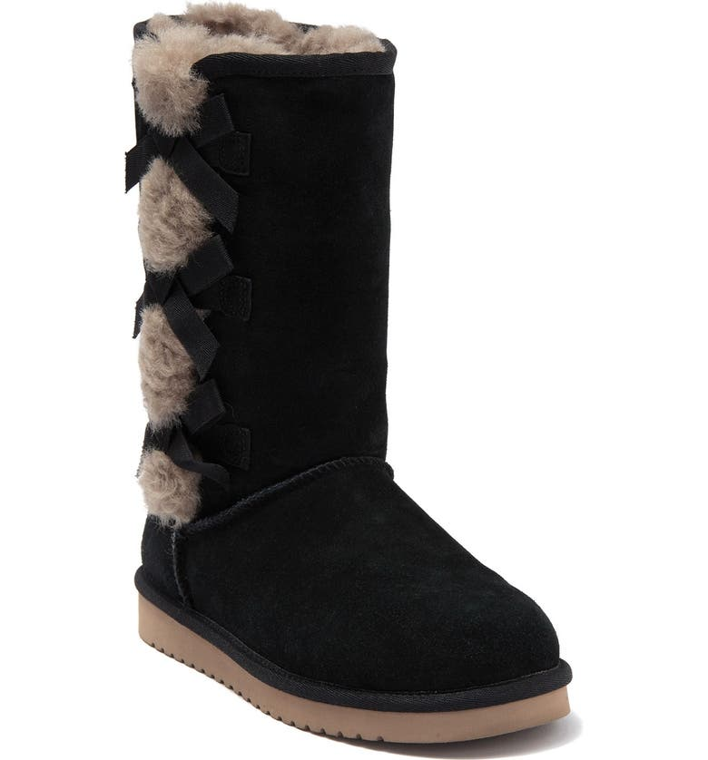 KOOLABURRA BY UGG Victoria Tall Genuine Dyed Shearling Trim & Faux Fur Boot, Main, color, BLK