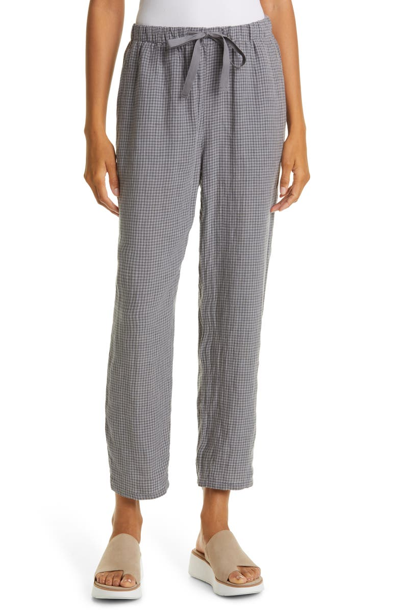 EILEEN FISHER Organic Linen Tapered Ankle Pants, Main, color, MOON