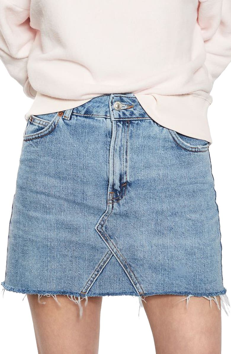 TOPSHOP Denim Miniskirt, Main, color, 400