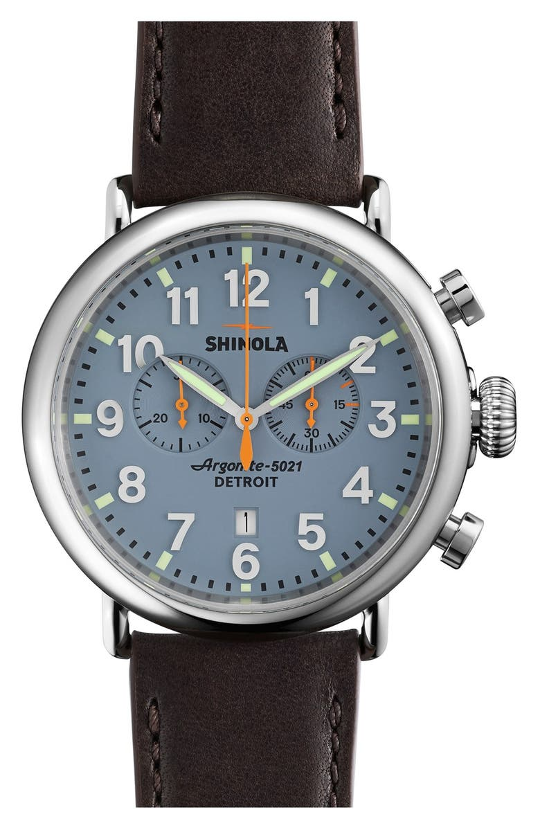 SHINOLA The Runwell Chrono Leather Strap Watch, 47mm, Main, color, BROWN/ SLATE BLUE/ SILVER