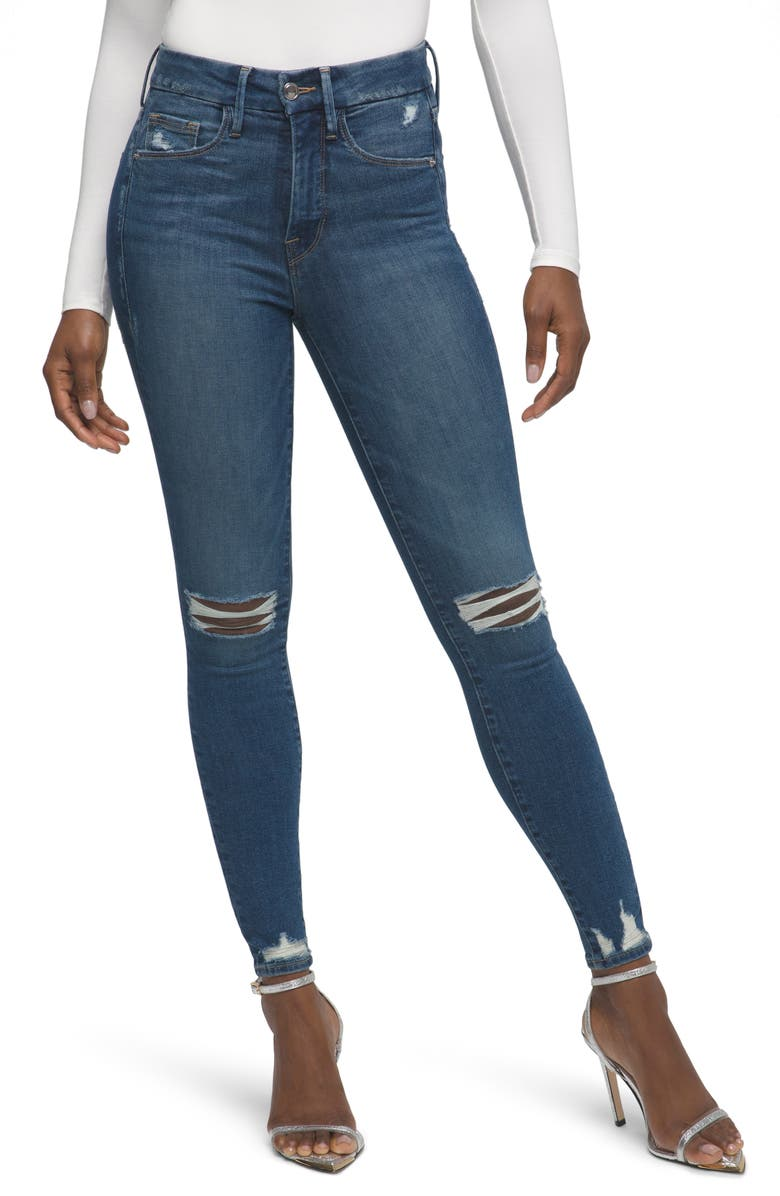 GOOD AMERICAN Good Legs Ripped Skinny Jeans, Main, color, BLUE519