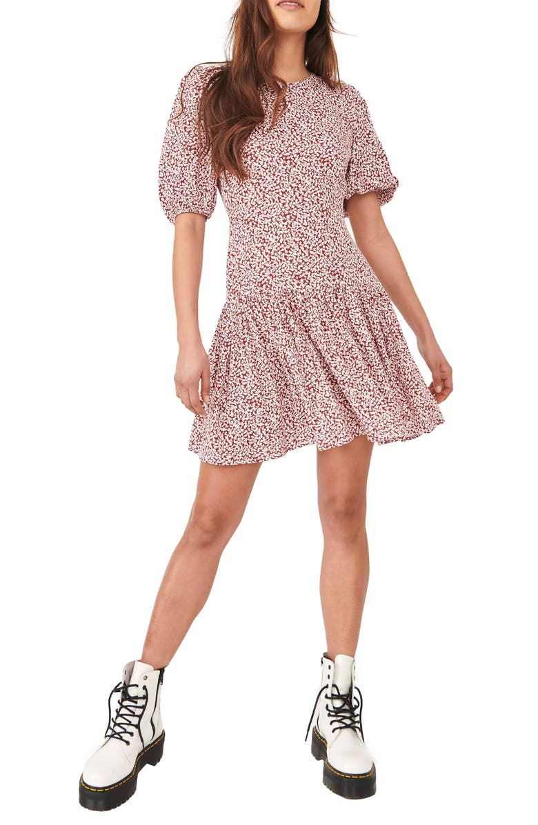 FREE PEOPLE Dancing in the Dark Minidress, Main, color, RED COMBO