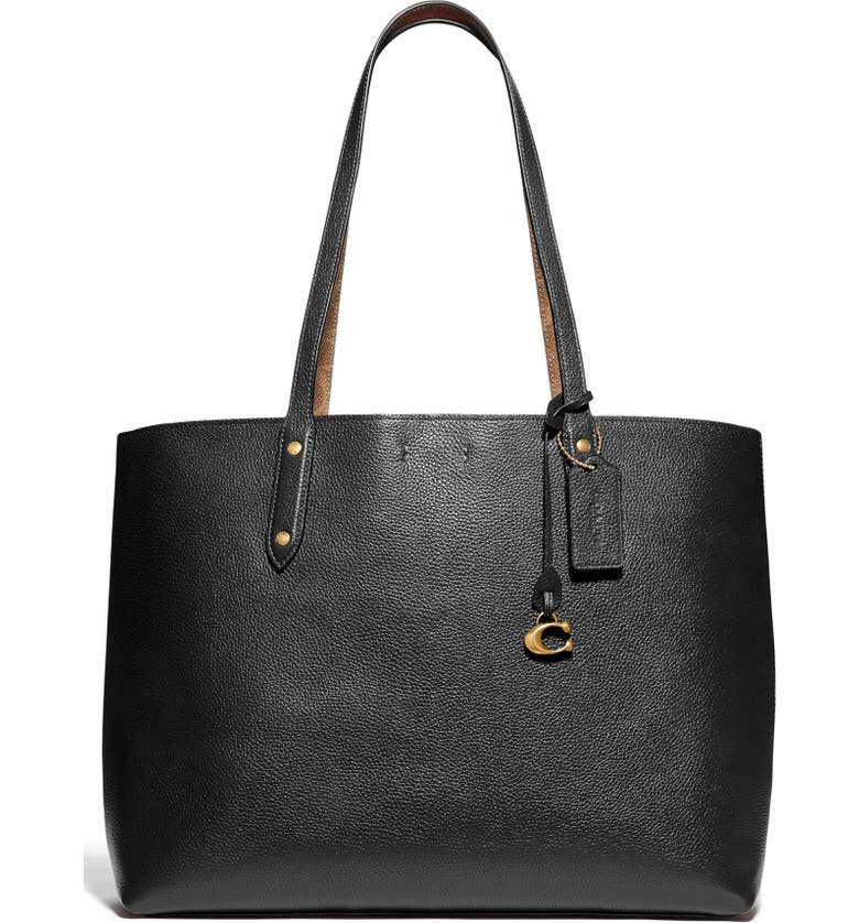 COACH Central Leather & Signature Coated Canvas Tote, Main, color, GOLD/ TAN BLACK