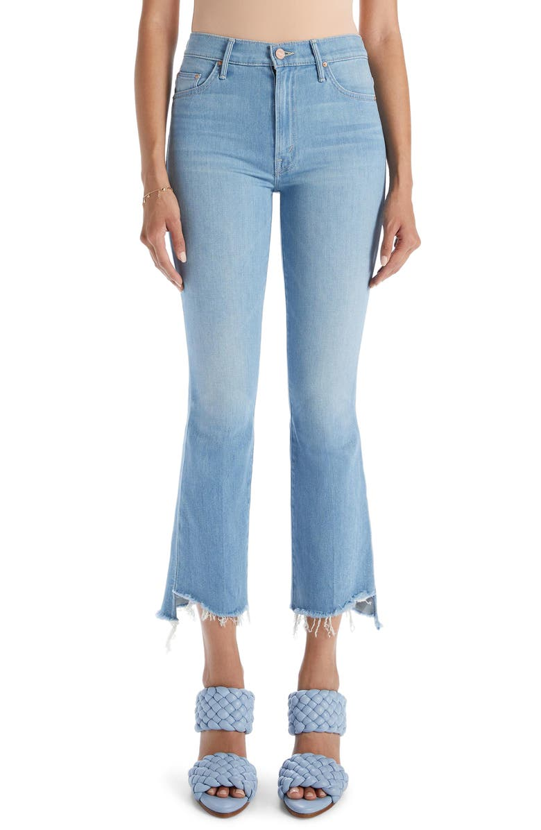 MOTHER The Insider High Waist Crop Step Fray Bootcut Jeans, Main, color, HOLD MY HAND