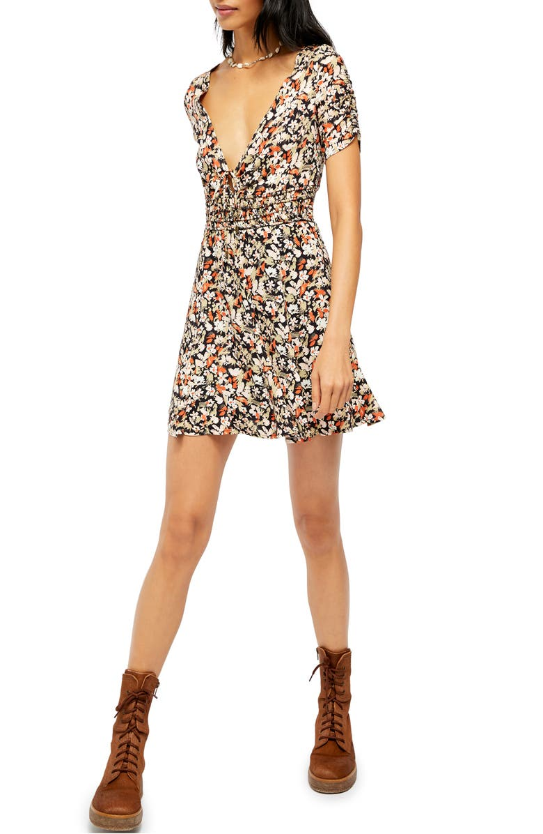 FREE PEOPLE Forget Me Not Floral Minidress, Main, color, 019