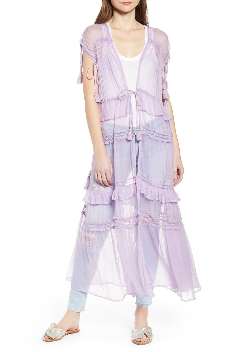 NFC Tiered Lace Sheer Duster, Main, color, 500
