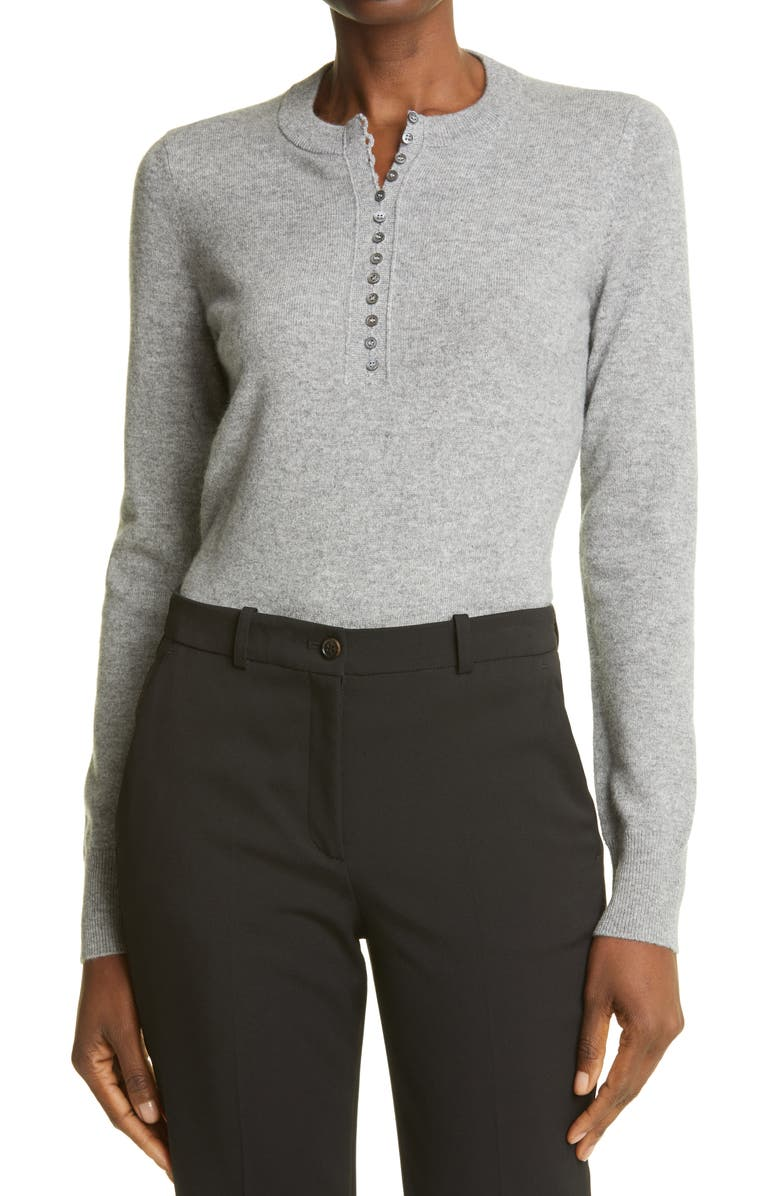 THEORY Cashmere Henley Sweater, Main, color, HUSKY