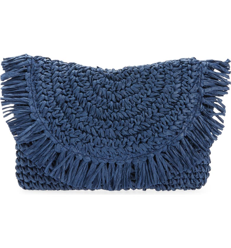 NORDSTROM Clara Soft Straw Clutch, Main, color, NAVY MIDNIGHT