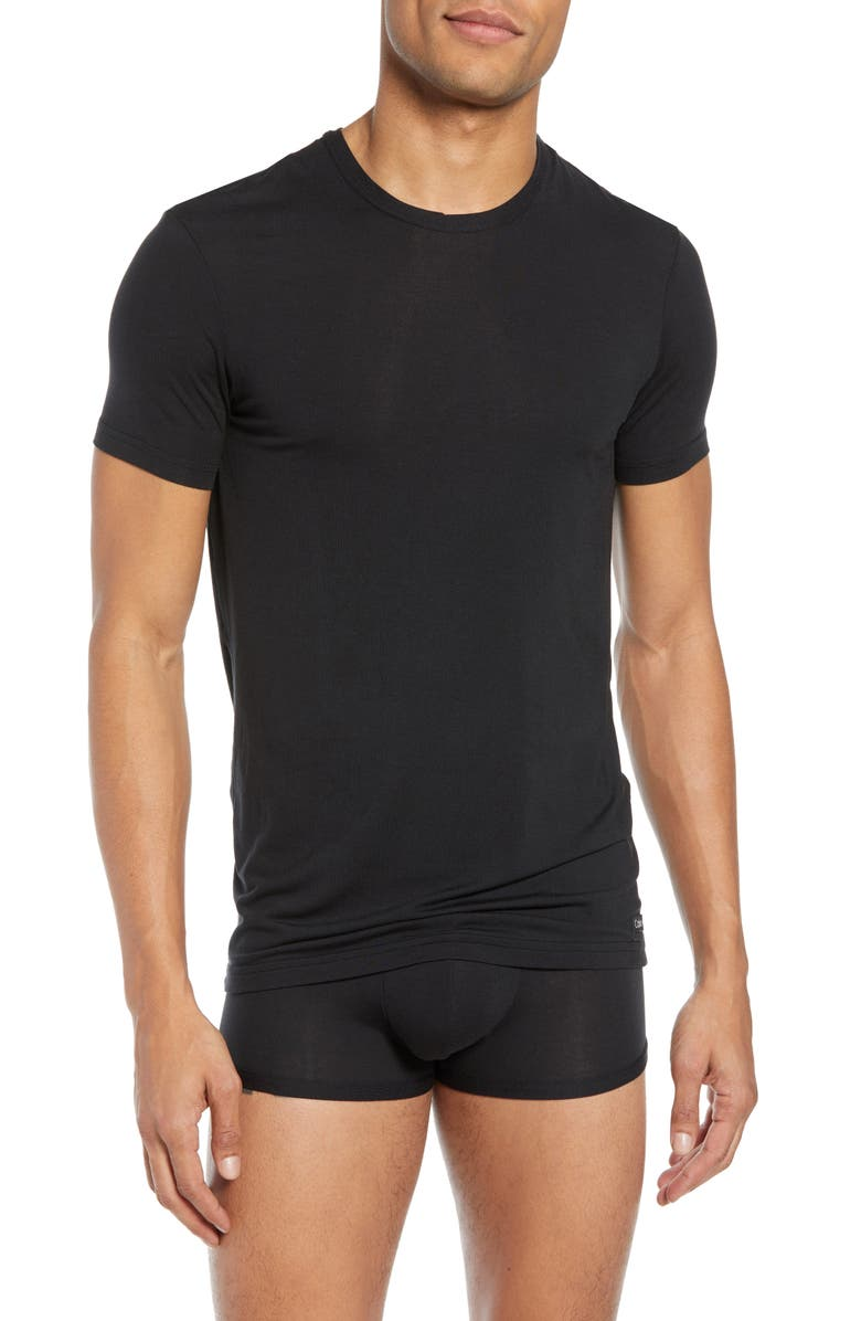 CALVIN KLEIN Ultrasoft Modal Blend Crewneck T-Shirt, Main, color, BLACK