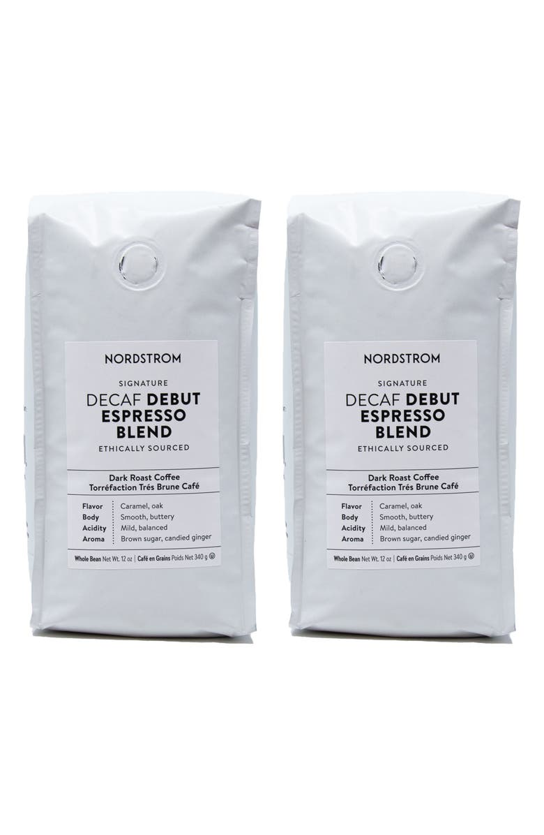 NORDSTROM Ethically Sourced Decaf Debut Espresso Blend 2-Pack Whole Bean Coffee, Main, color, BROWN