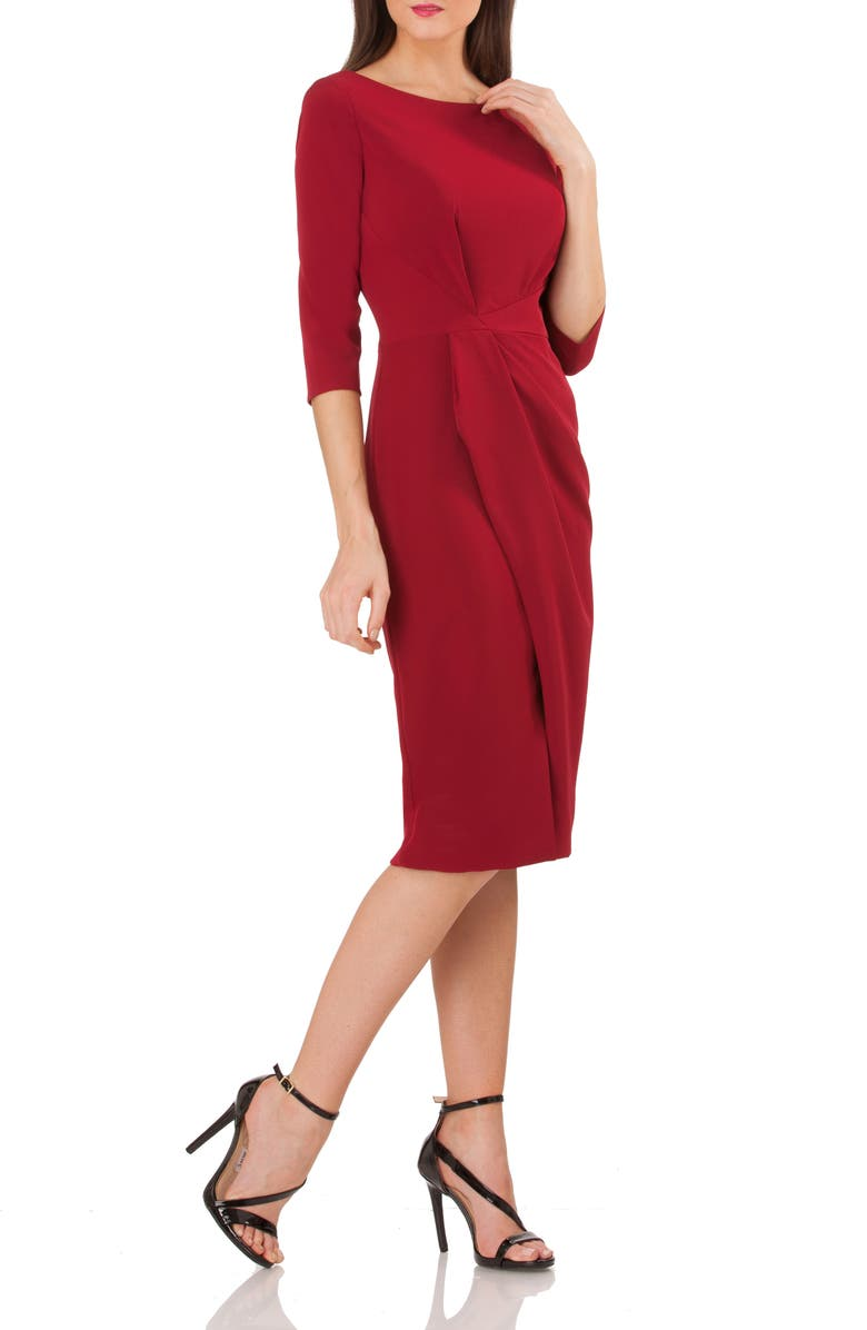 JS COLLECTIONS Pleated Crepe Sheath Dress, Main, color, 610