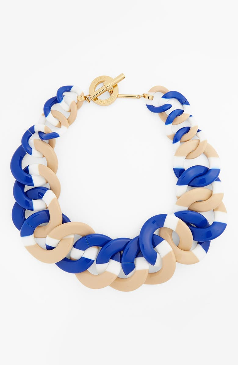 TORY BURCH Acetate Link Statement Necklace, Main, color, WHITE/ BLUE/ TAN