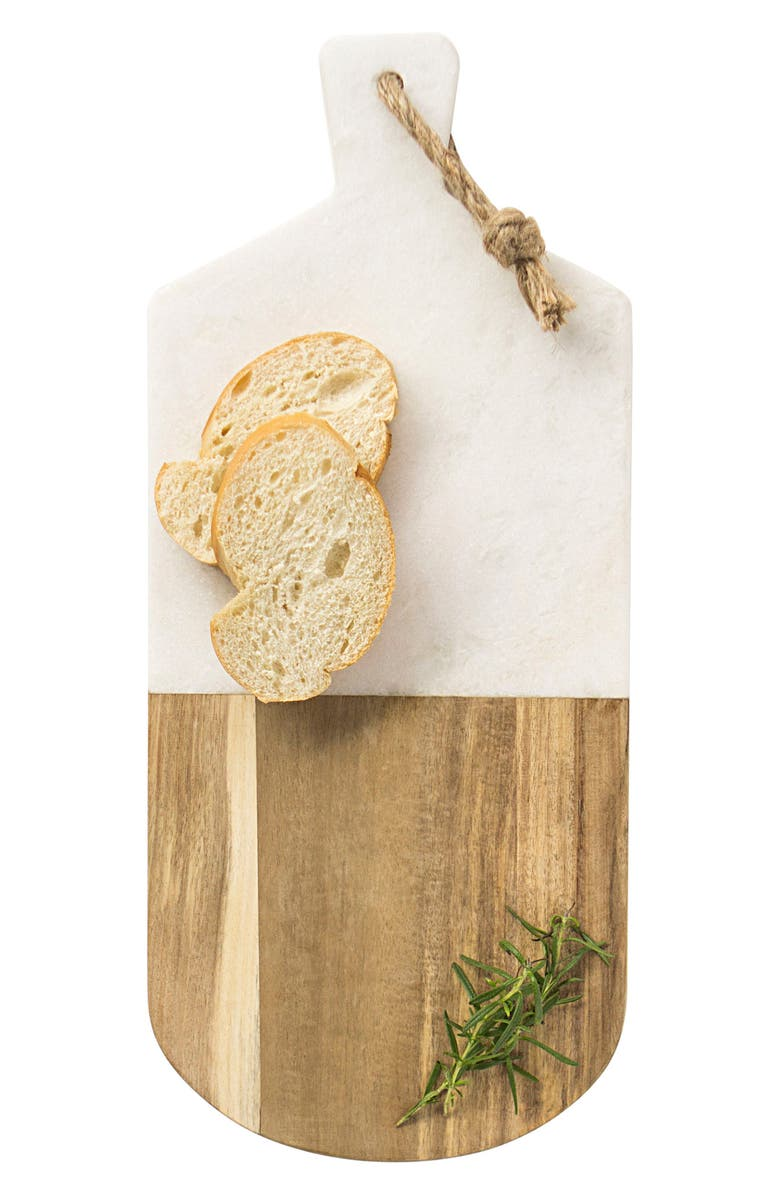 CATHY'S CONCEPTS Monogram Marble & Wood Serving Board, Main, color, Brown