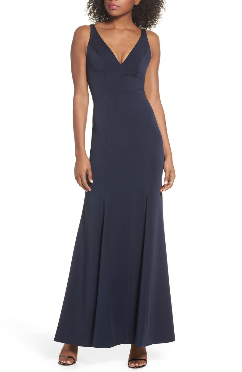 JENNY YOO Jade Luxe Crepe V-Neck Gown, Main, color, 410