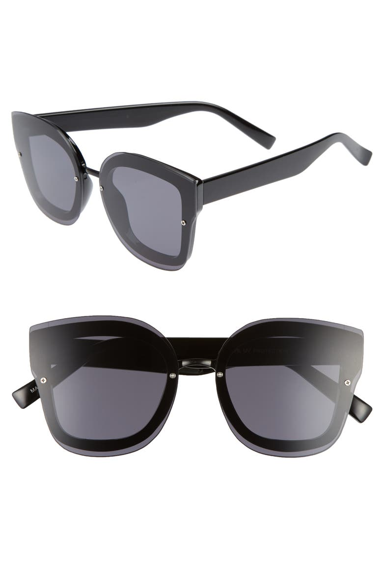 BP. 50mm Squared-Off Sunglasses, Main, color, 001