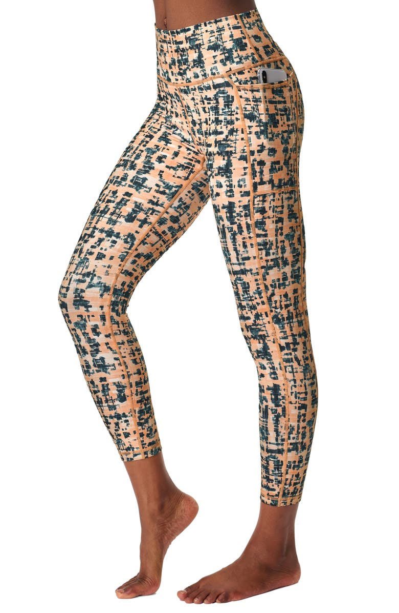 SWEATY BETTY Super Sculpt High Waist Yoga Pocket 7/8 Leggings, Main, color, CORAL PINK TIEDYE CHECK PRINT