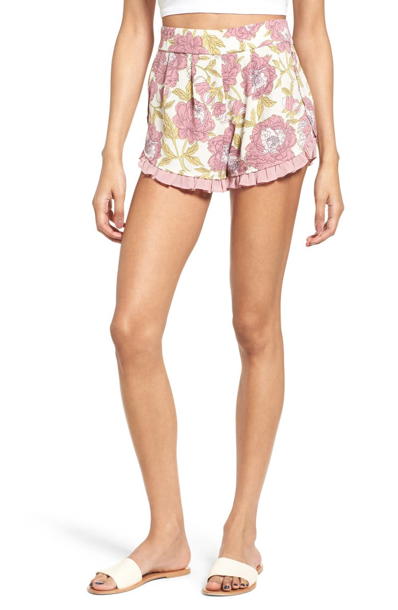 LEITH Ruffle Trim Floral Shorts, Main, color, BEIGE SKETCHED CAMILLAS