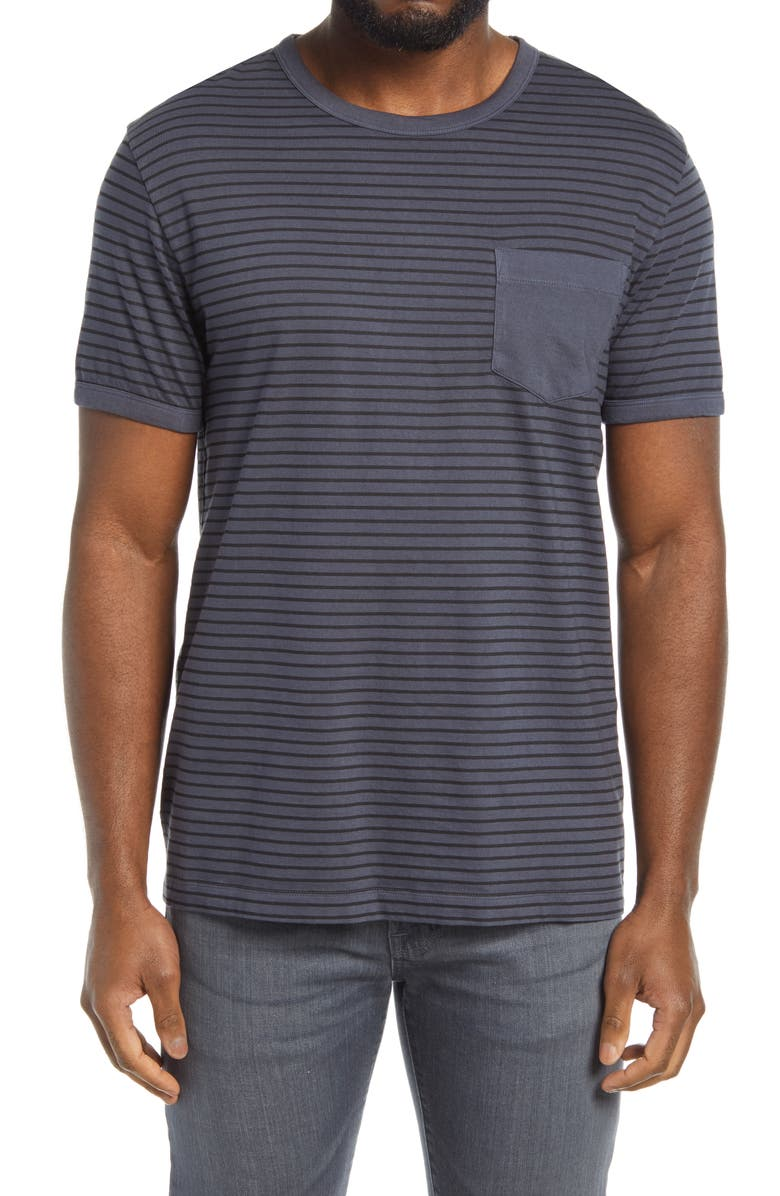 FRENCH CONNECTION Overdye Stripe Pocket T-Shirt, Main, color, UTILITY BLUE