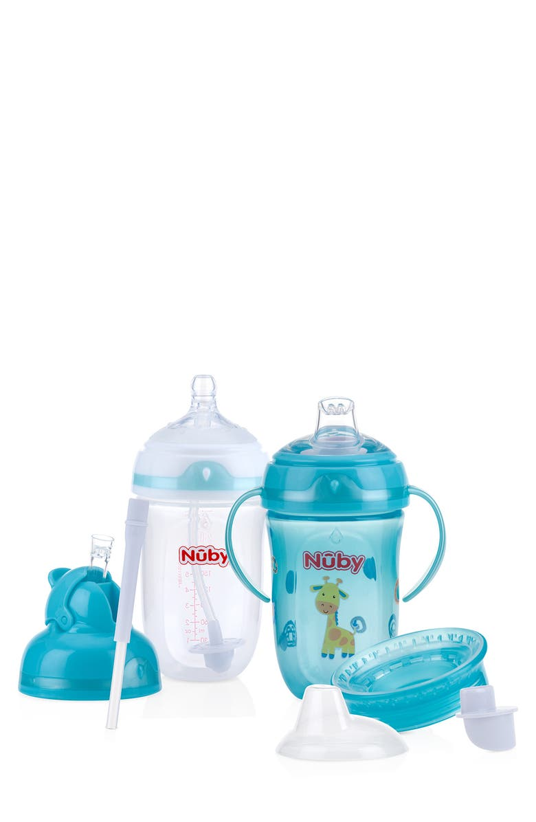 NUBY Comfort 360 Degree PLUS+ 6-Stage Bottle to Cup Kit, Main, color, CLEAR