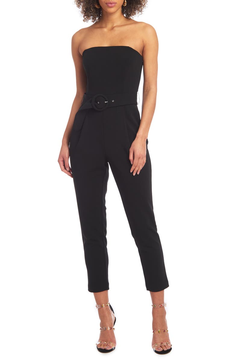 CHRISTIAN SIRIANO Strapless Belted Scuba Crepe Jumpsuit, Main, color, 001