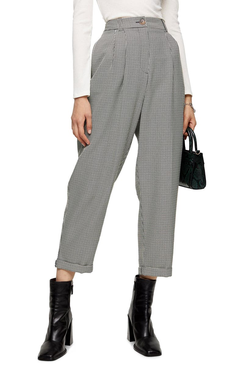 TOPSHOP Houndstooth Crop Trousers, Main, color, 002