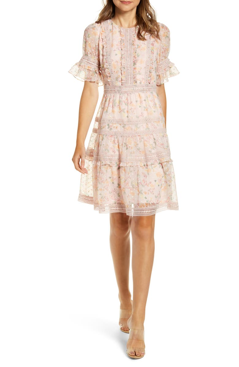 RACHEL PARCELL Mixed Lace Fit & Flare Dress, Main, color, 650
