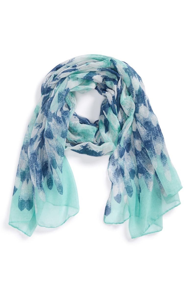 BP. Watercolor Scarf, Main, color, TURQUOISE