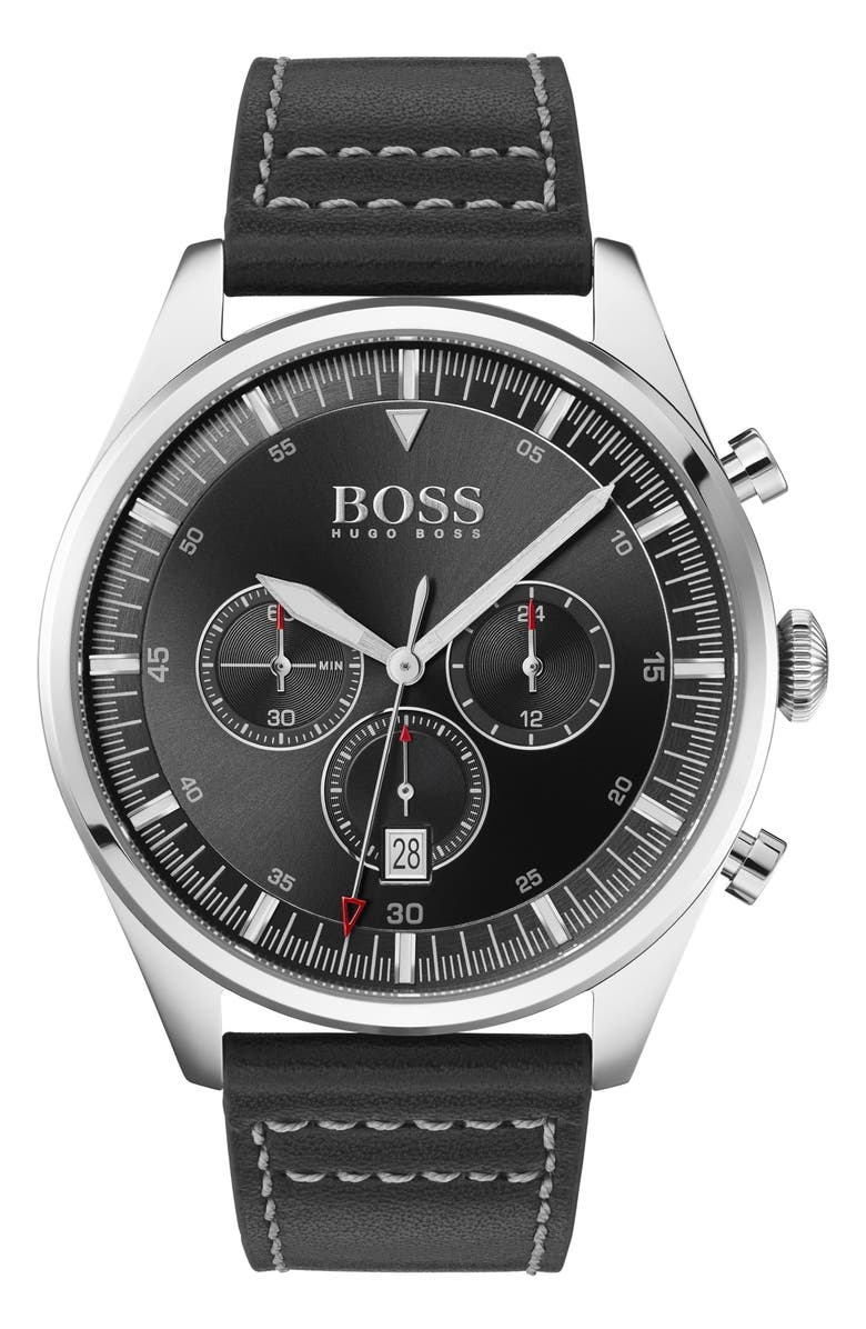 BOSS Pioneer Chronograph Leather Strap Watch, 44mm, Main, color, 001