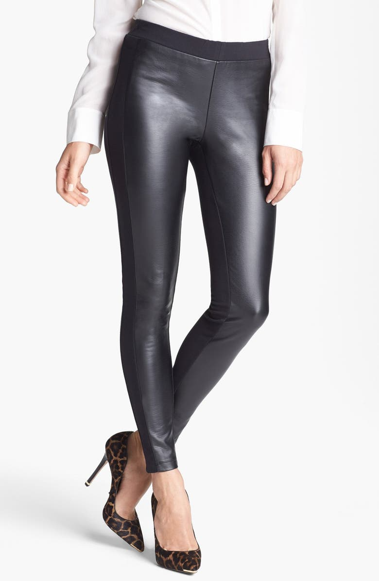 TROUVÉ Faux Leather Front Leggings, Main, color, 001