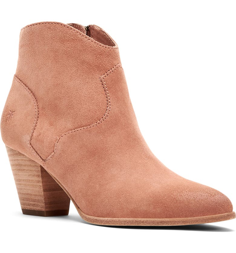 FRYE Reed Pointy Toe Bootie, Main, color, LIGHT ROSE SUEDE