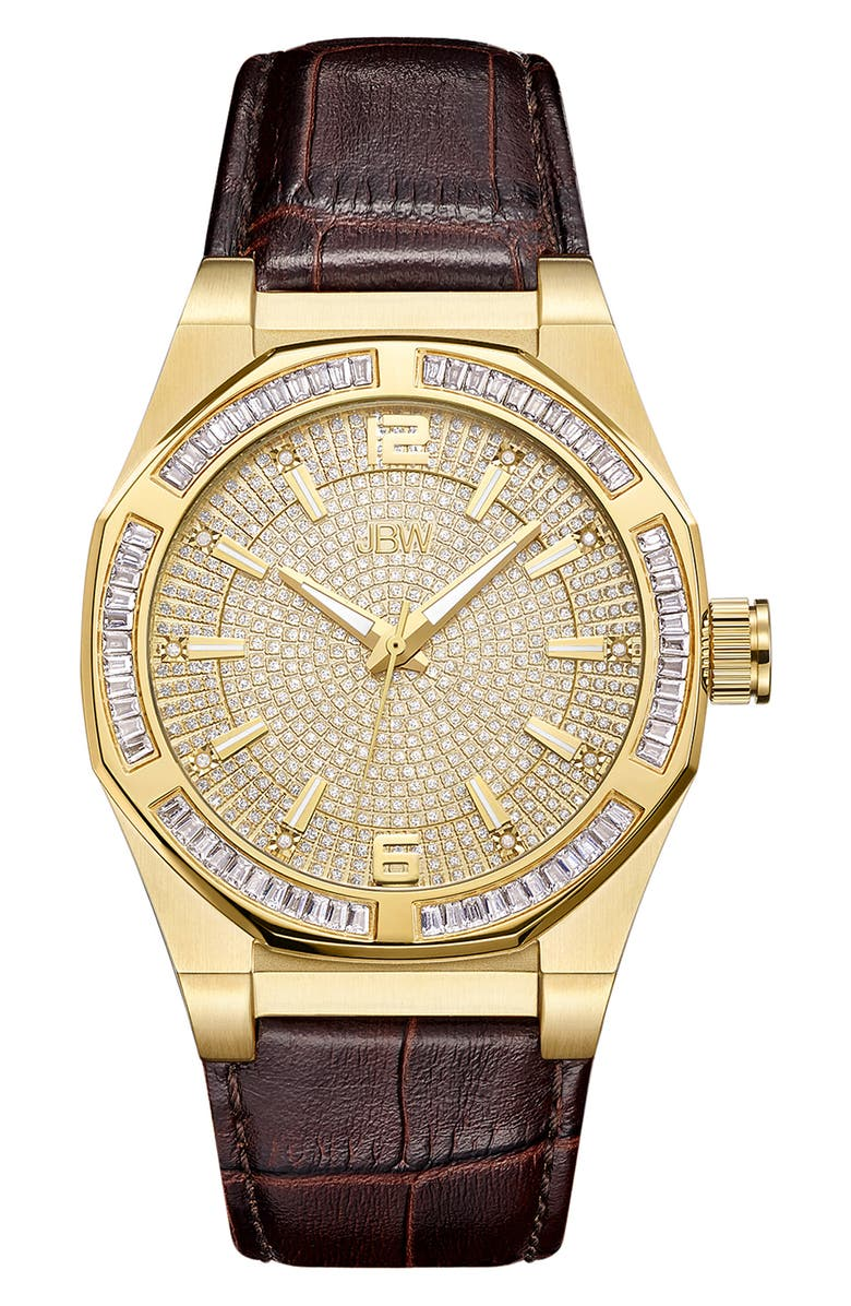 JBW Men's Apollo Diamond Embossed Leather Watch, 44mm - 0.10 ctw, Main, color, GOLD