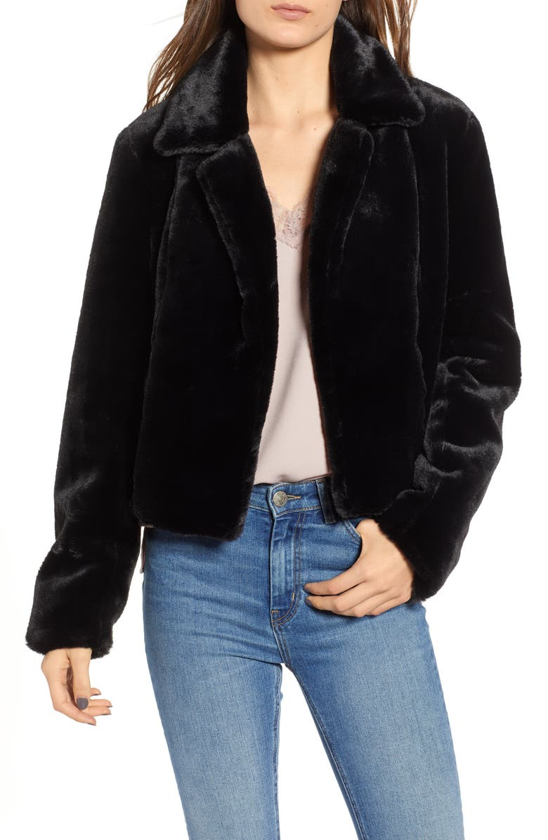 BLANKNYC Cropped Faux Fur Jacket, Main, color, UPTOWN GIRL