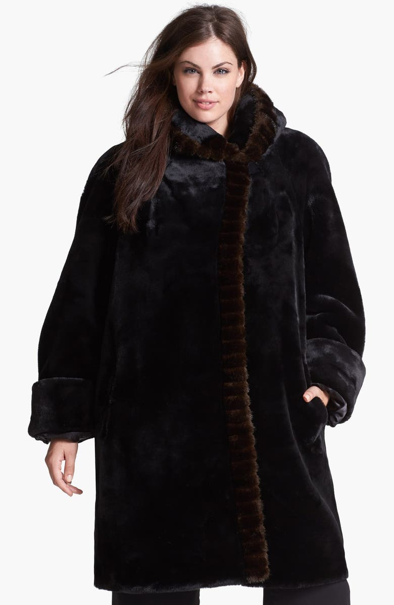 GALLERY Hooded Faux Fur Walking Coat, Main, color, 001