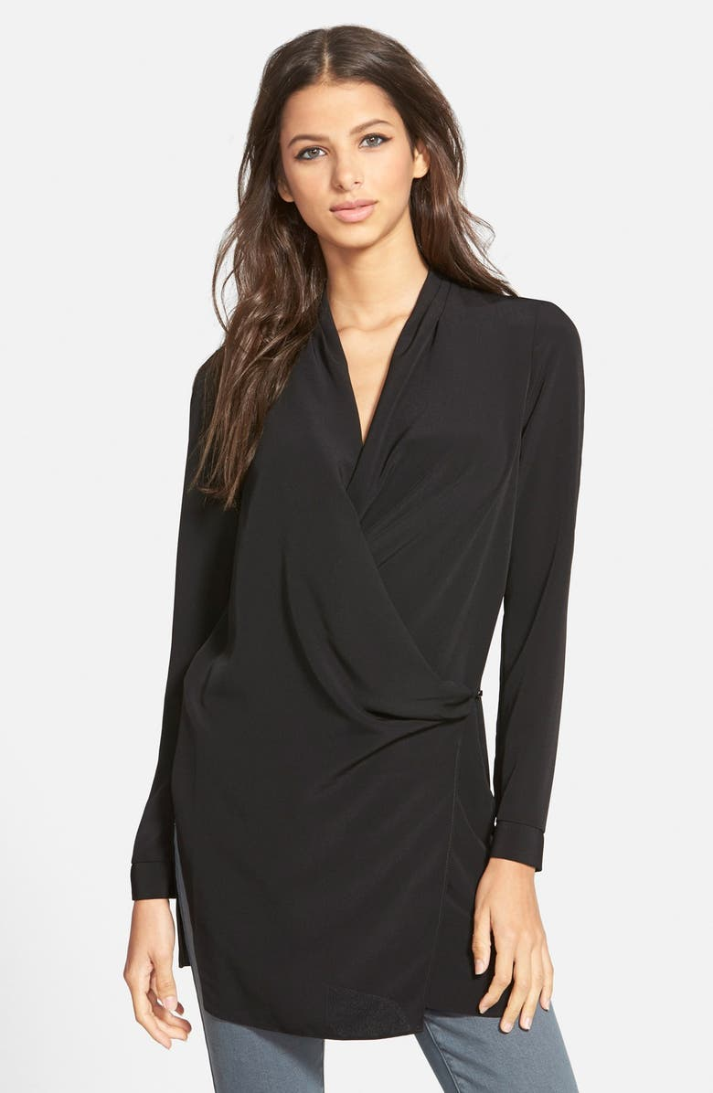 ASTR THE LABEL ASTR Long Sleeve Wrap Tunic Blouse, Main, color, 001