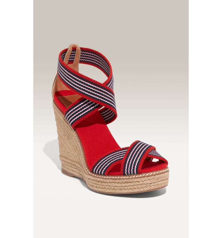 TORY BURCH Stripe Elastic Strap Espadrille, Main, color, RED/ NAVY/ WHITE