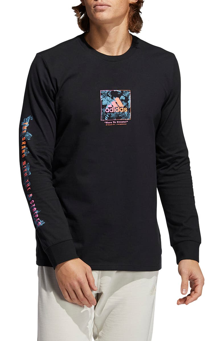 ADIDAS Floral Long Sleeve Graphic Tee, Main, color, Black