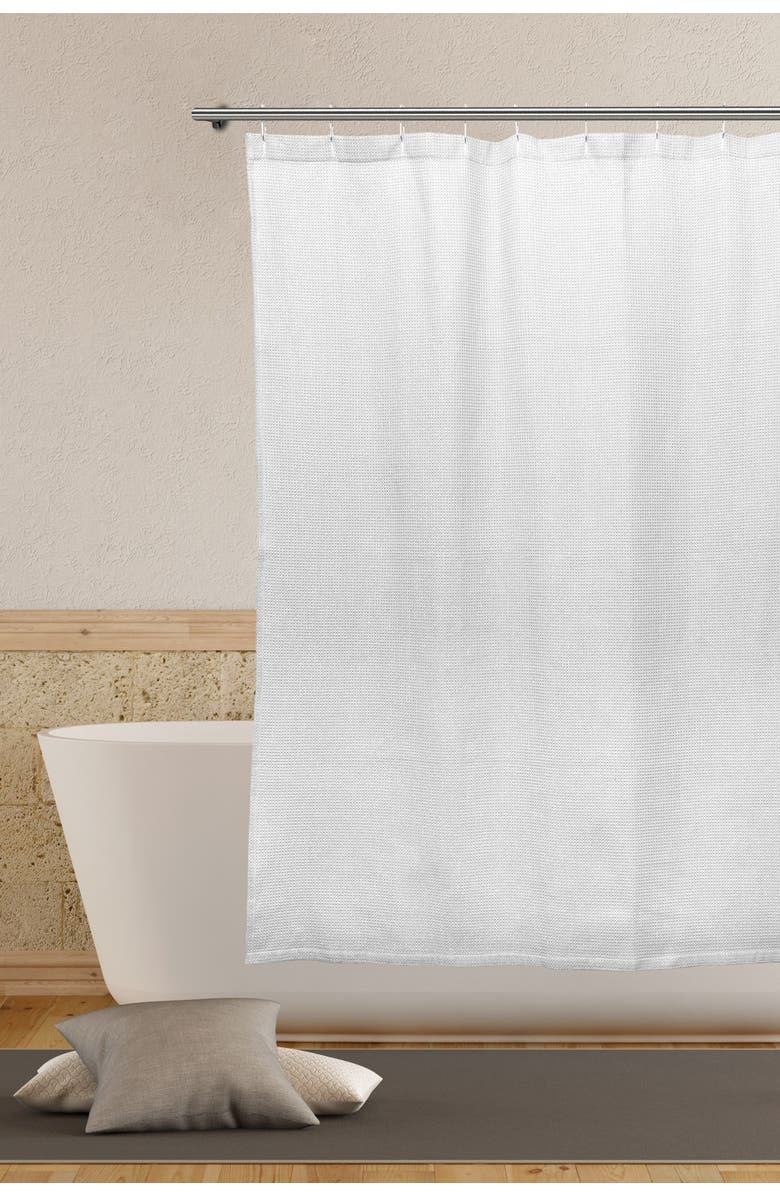 DUCK RIVER TEXTILE Oriana Waffle Shower Curtain - White, Main, color, WHITE