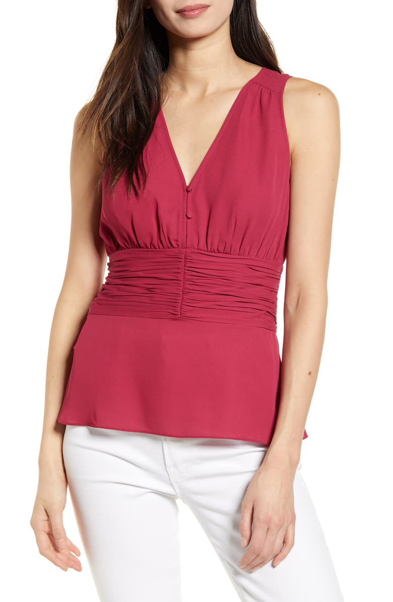 CHELSEA28 Sleeveless Ruched Top, Main, color, BURGUNDY BERRY