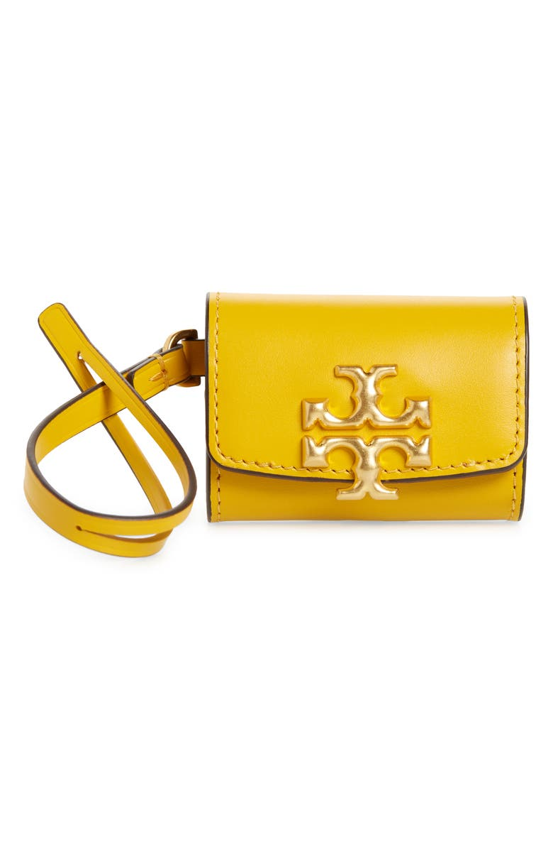 TORY BURCH Eleanor Leather Airpod Case, Main, color, GOLDEN CREST