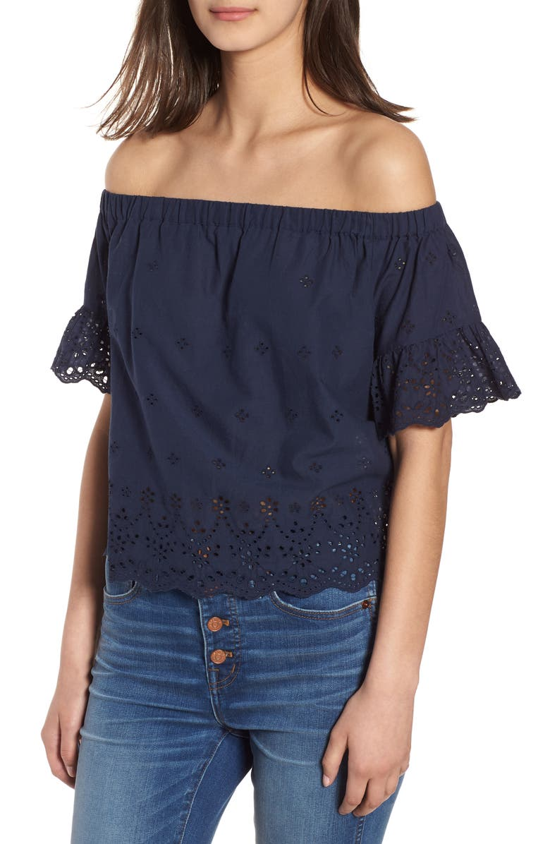 MADEWELL Off the Shoulder Eyelet Top, Main, color, 400