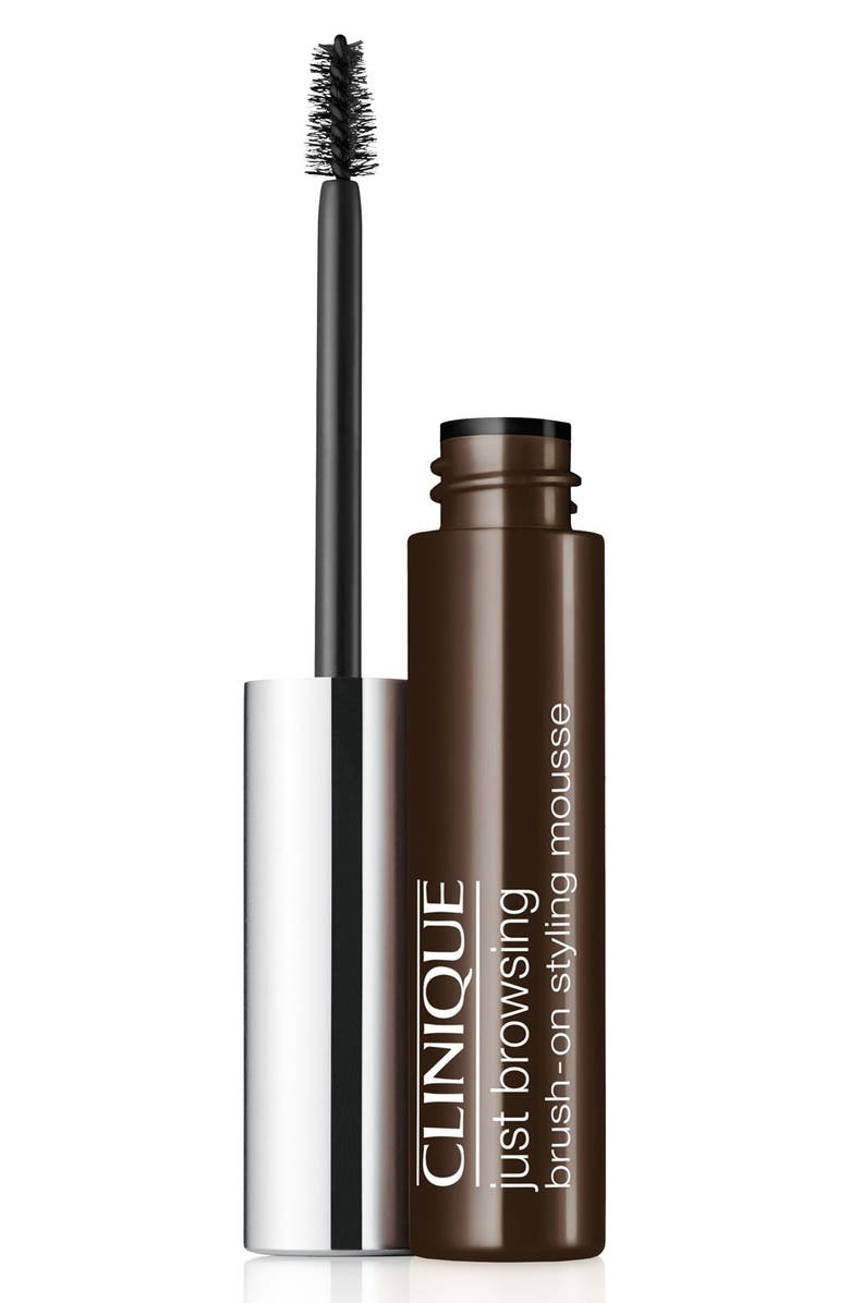 CLINIQUE Just Browsing Brush-On Tinted Brow Styling Mousse, Main, color, BLACK/ BROWN