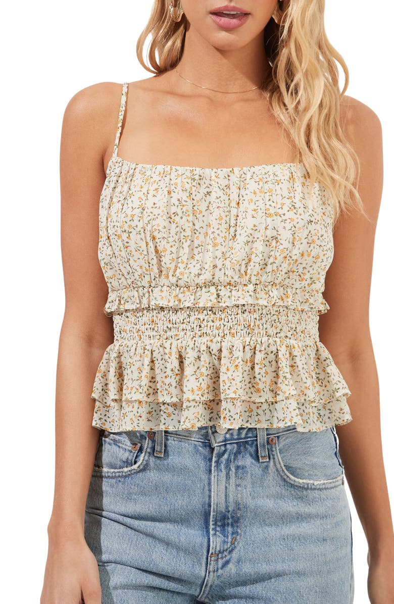 ASTR Floral Smocked Ruffled Crop Camisole, Main, color, 998