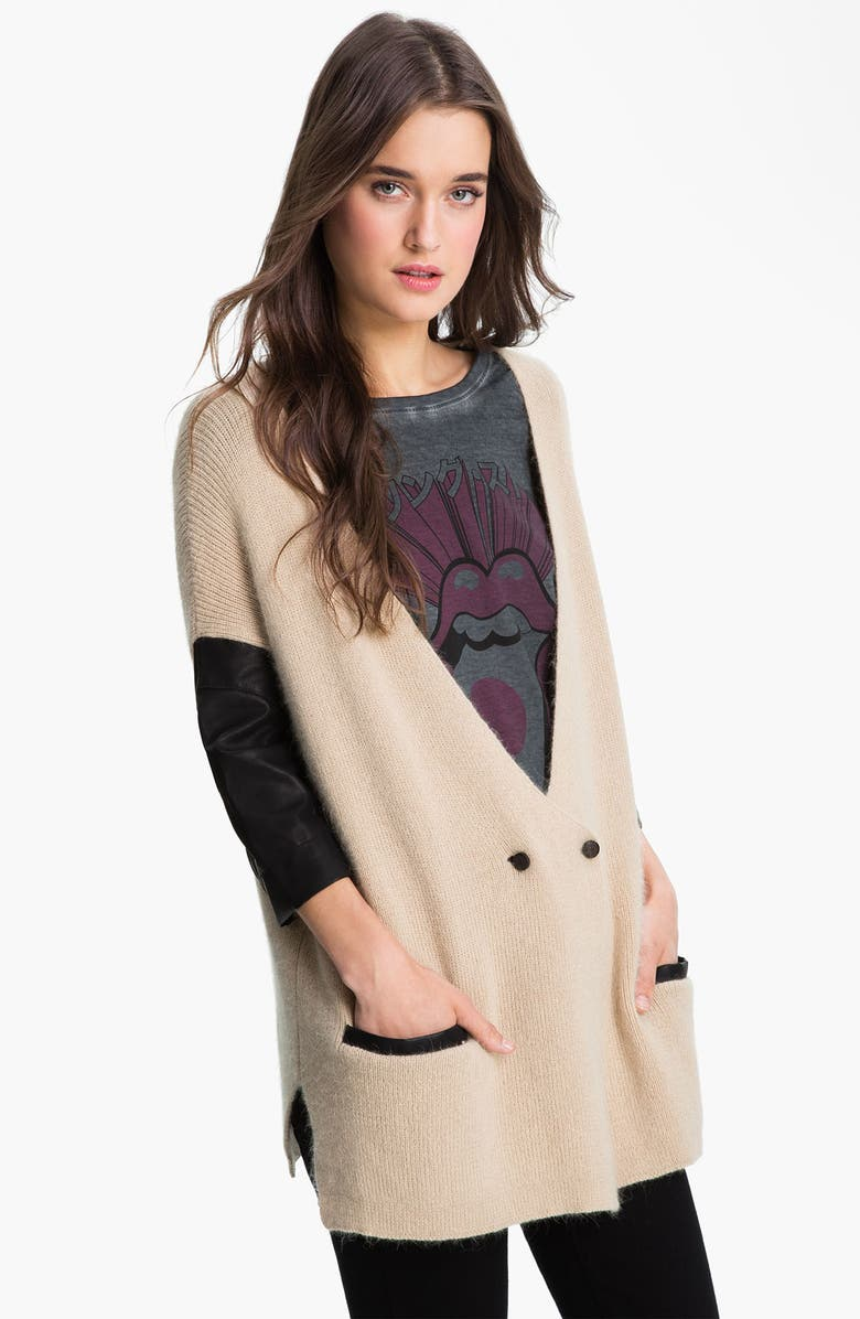ELEVENPARIS 'Messy' Leather Sleeve Cardigan, Main, color, 270