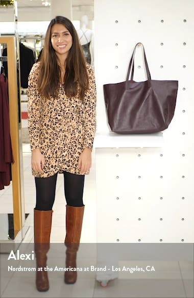 Oversize Lambskin Leather Tote, sales video thumbnail