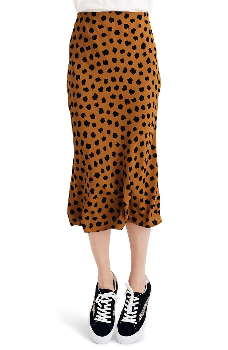 MADEWELL Painted Spots Midi Slip Skirt, Main, color, PAINTED SPOTS EGYPTIAN GOLD