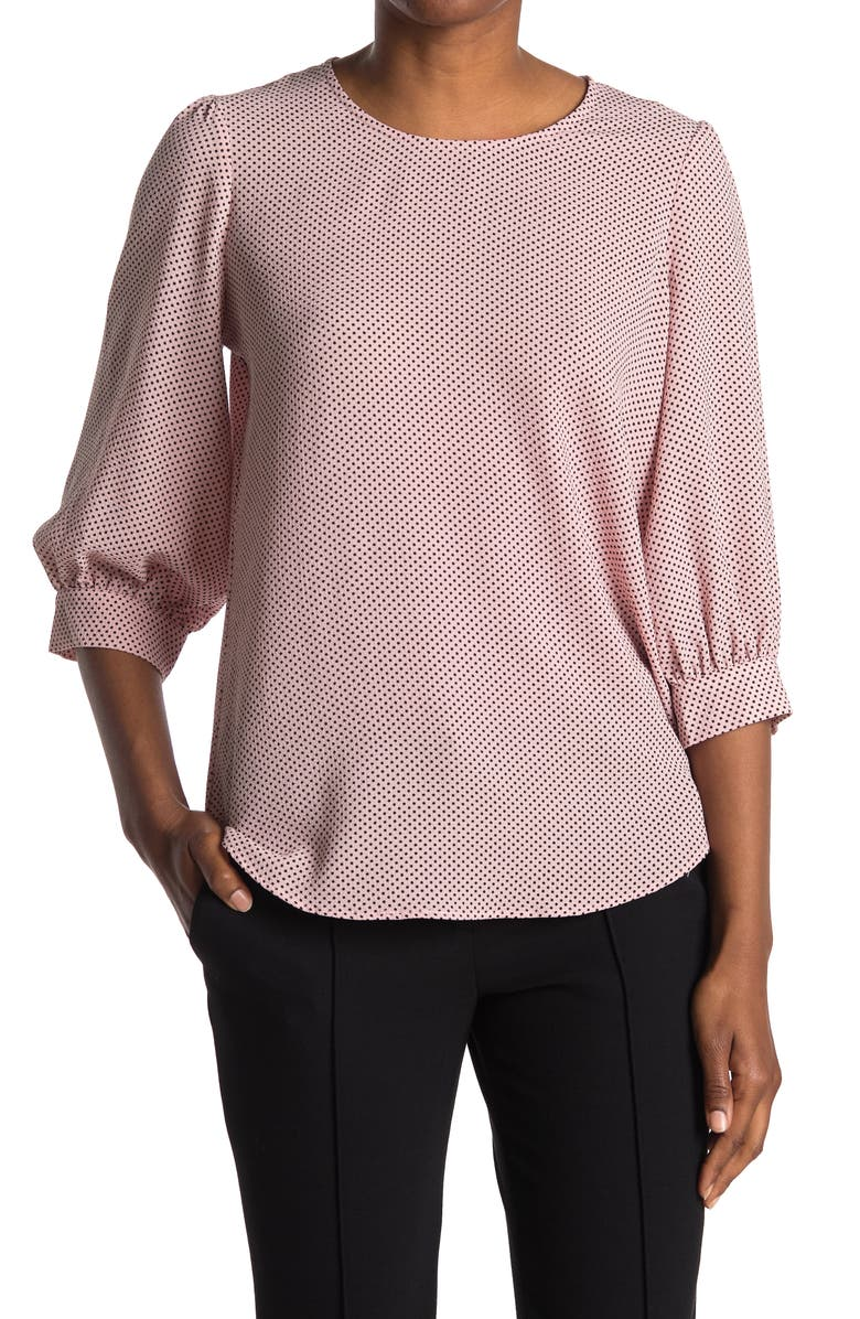 ADRIANNA PAPELL Pebbled 3/4 Sleeve Crepe Blouse, Main, color, BLHBKSMLDT