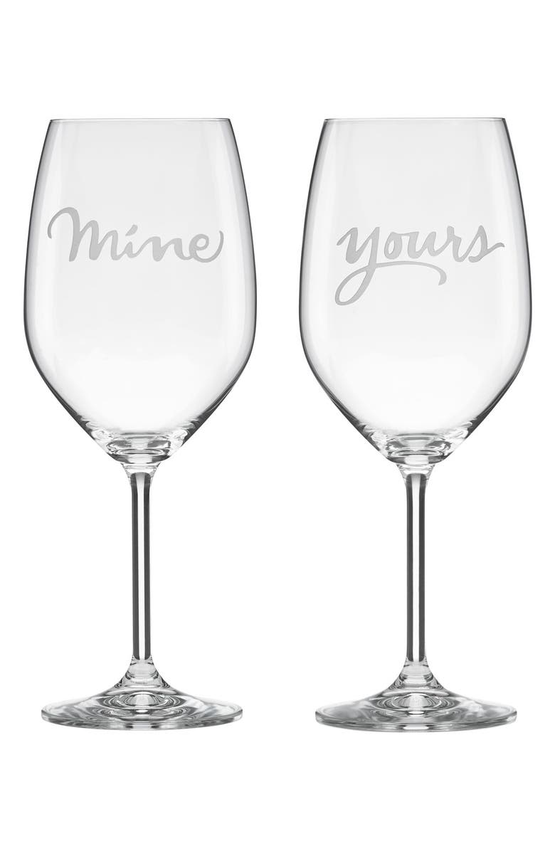 KATE SPADE NEW YORK yours & mine'crystal wine glasses, Main, color, 100